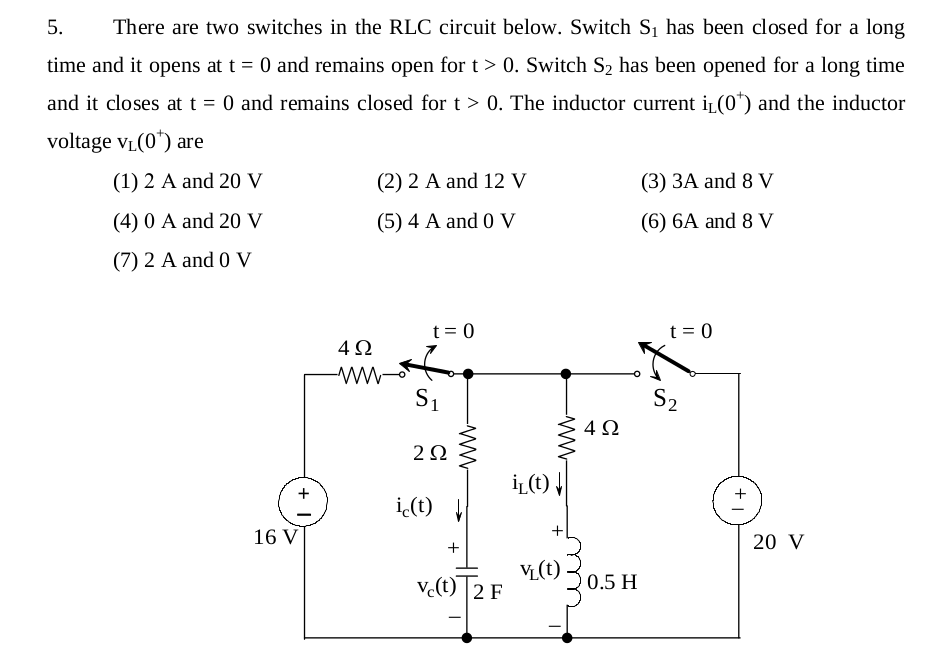 There are two switches in the RLC circuit below. S