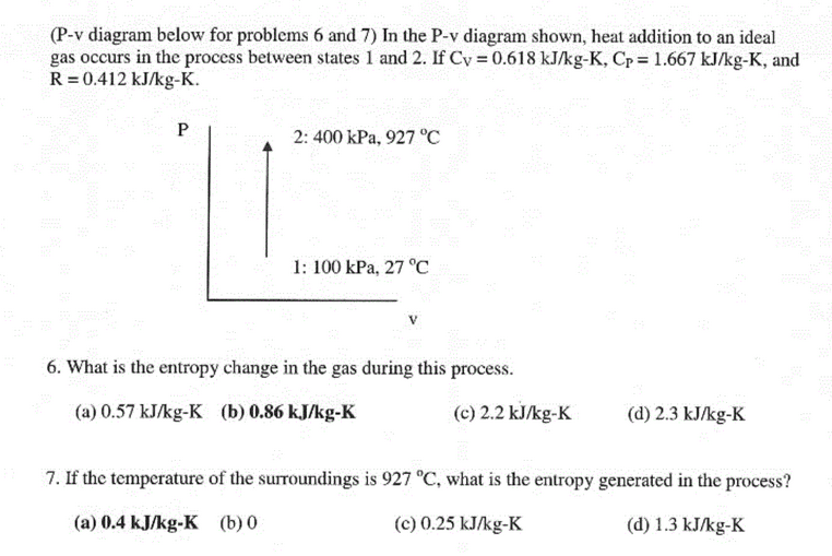 (P-v diagram below for problems 6 and 7) In the P-