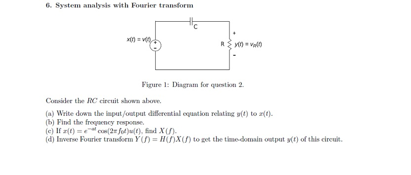 System analyses with Fourier transform Consider t
