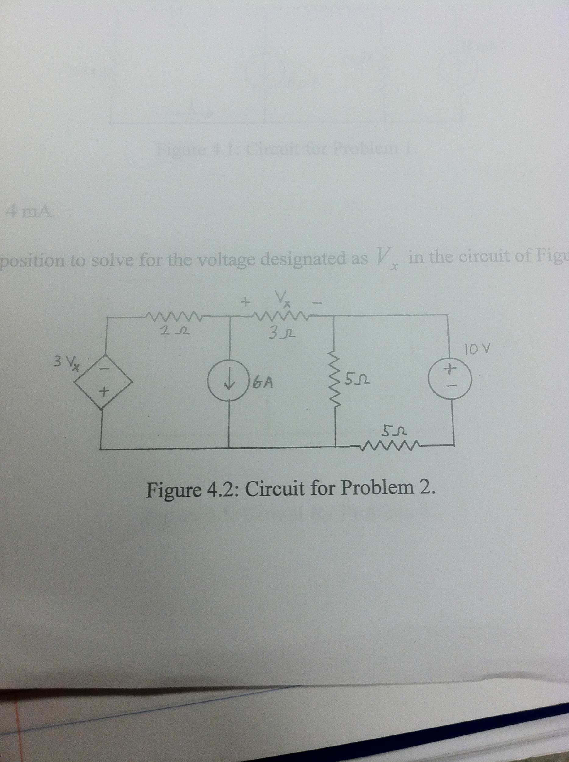 Position to solve for the voltage designated as Vx