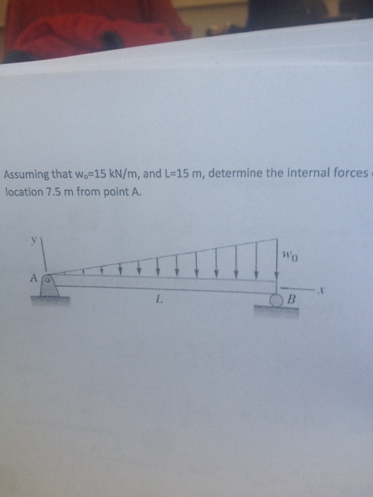 Assuming that wo 15 kN/m, and L 15 m, determine th