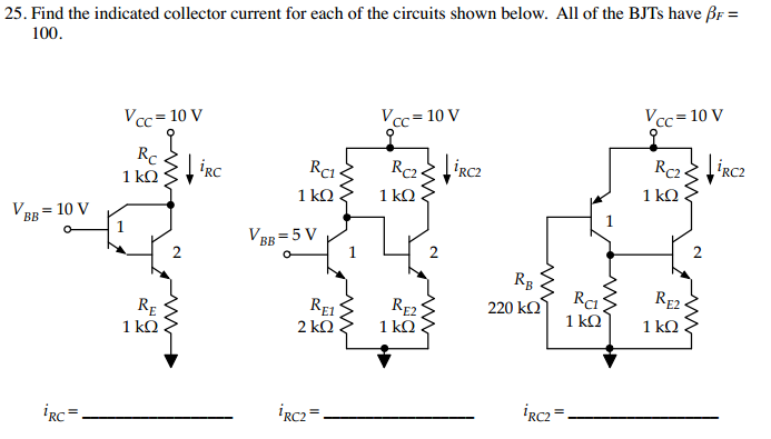 Find the indicated collector current for each of t