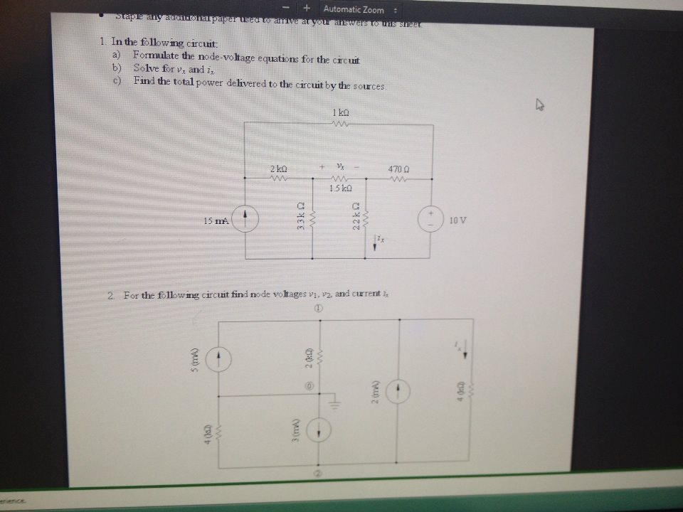 In the following circuit Formulate the node-volta
