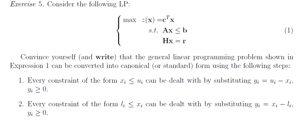Solved Erercise 5 Consider The Following Lp T X Max