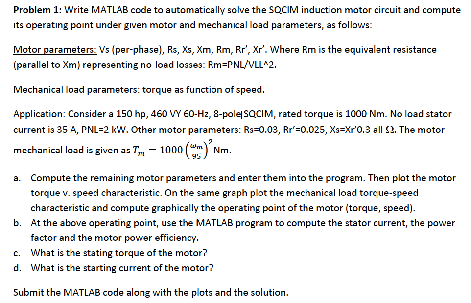 Write MATLAB code to automatically solve the SQCIM