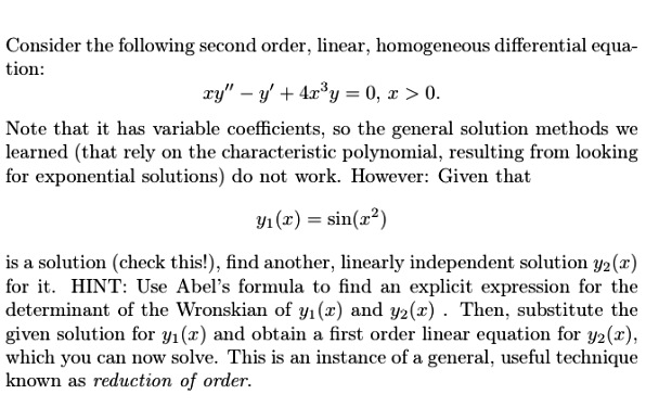 how to solve second order differential equations with variable coefficients