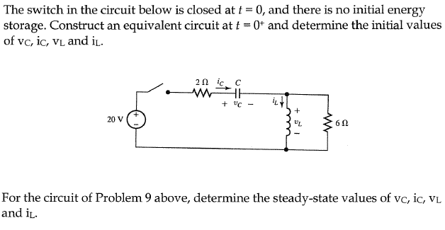 The switch in the circuit below is closed at t = 0