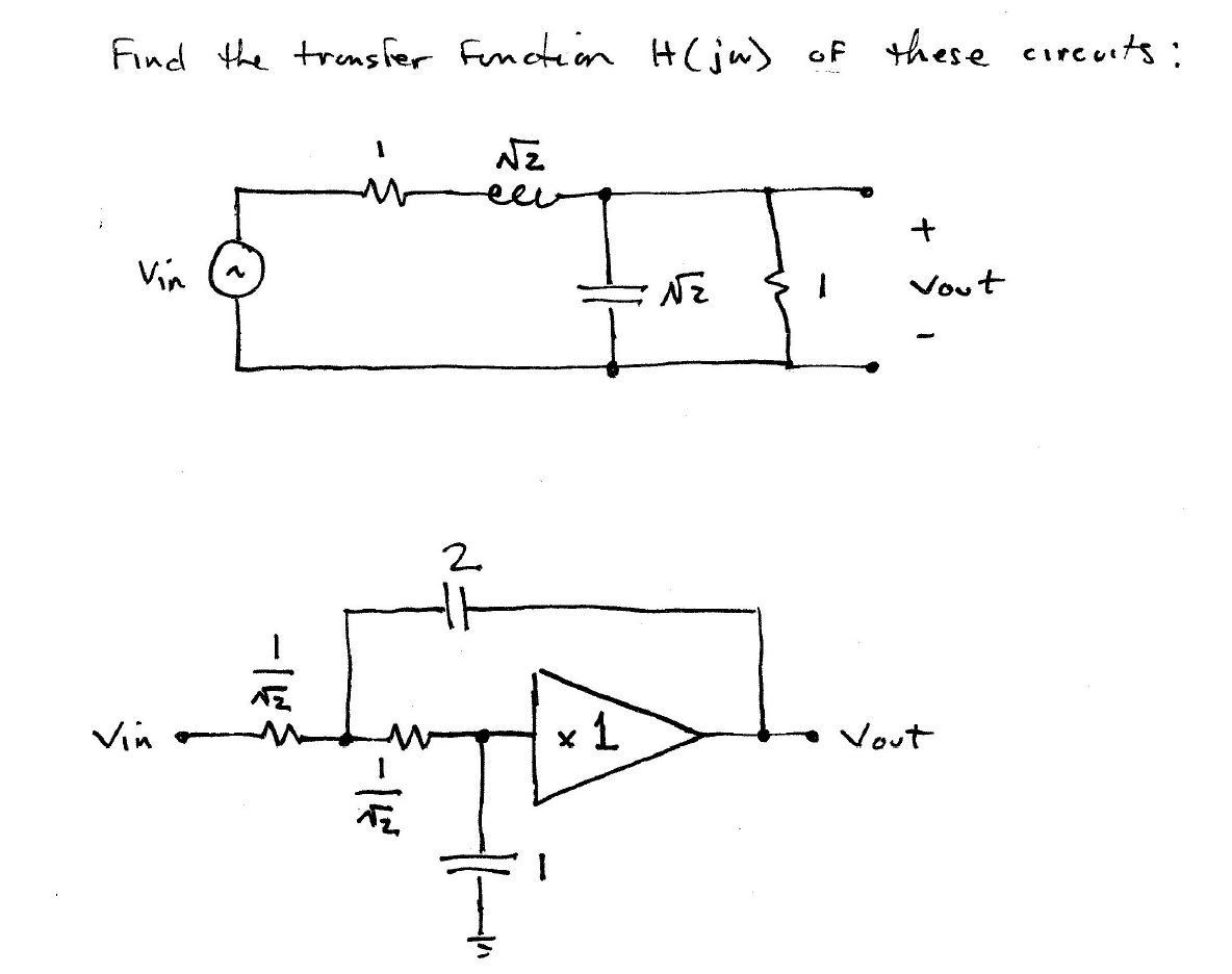 Find the transfer function H(ja) of these circuits