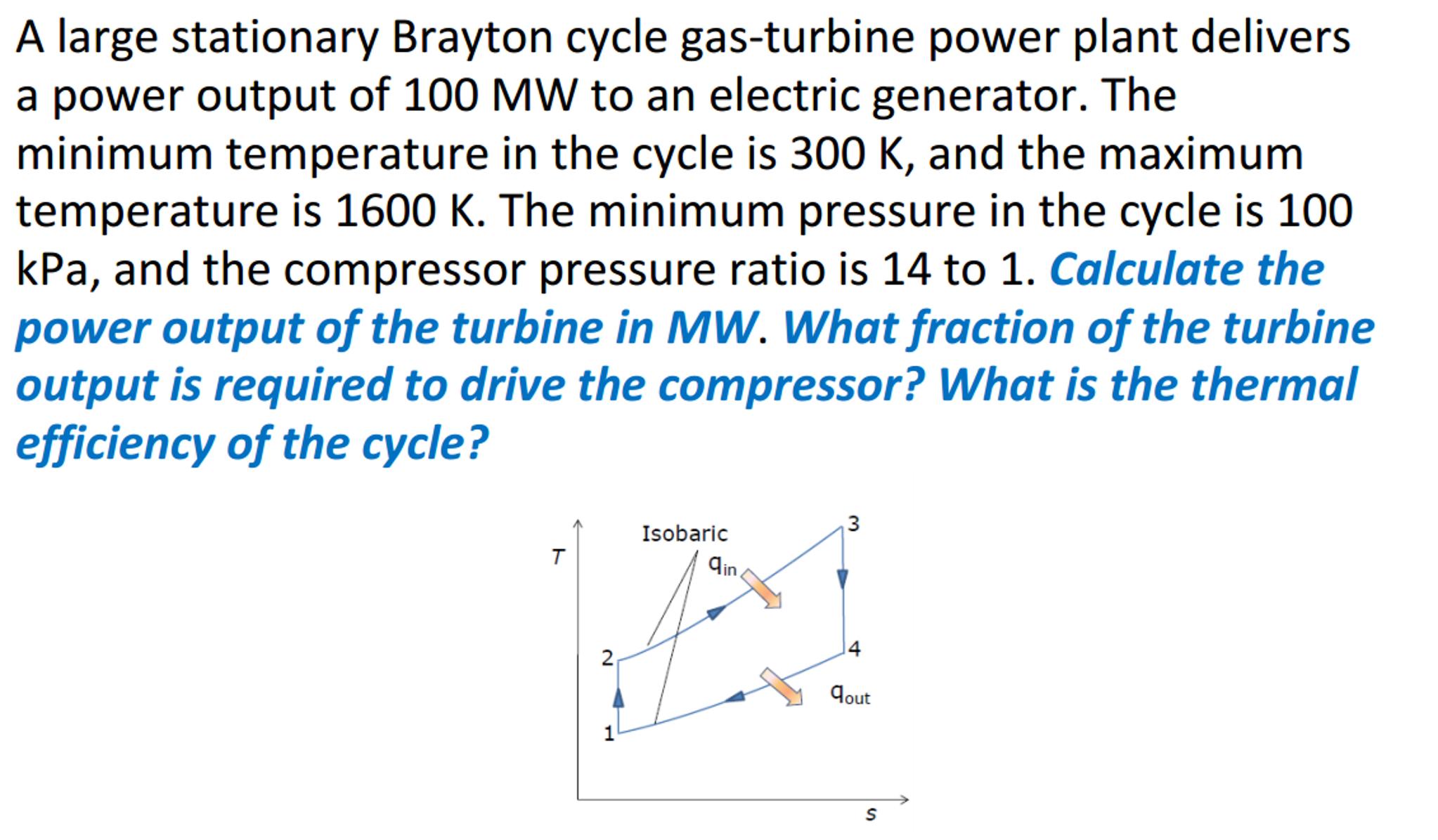 A Stationary Brayton Cycle Gas turbine Power