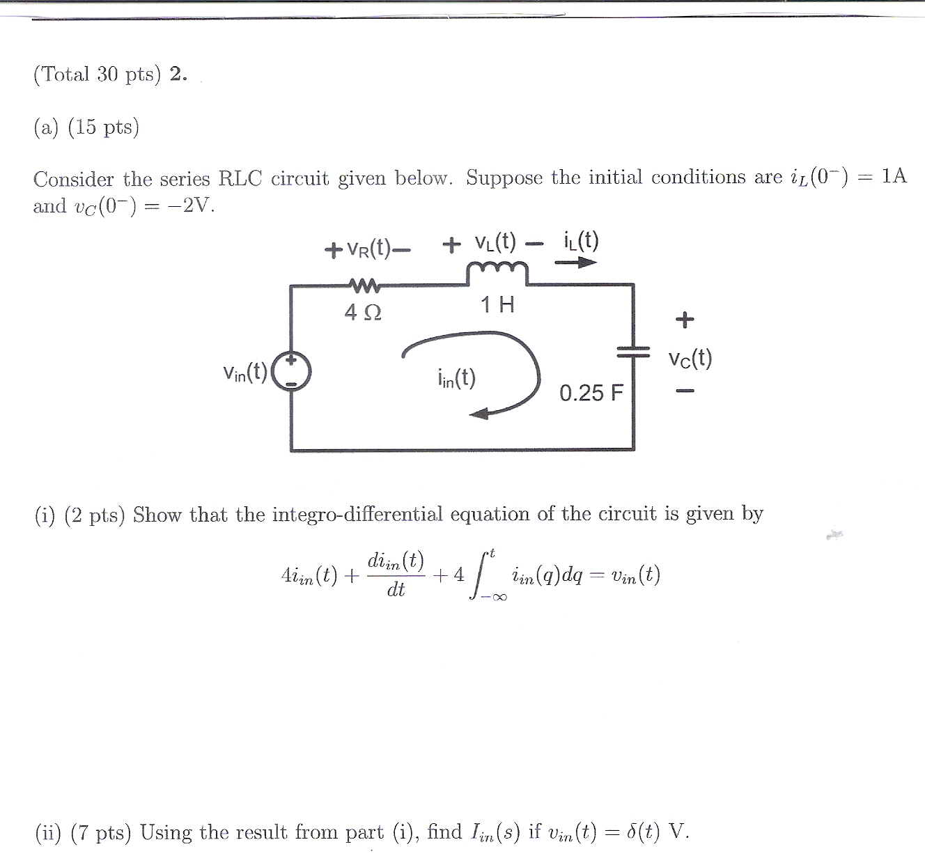 Find i in(t). Compute the input impedance Z in(s)