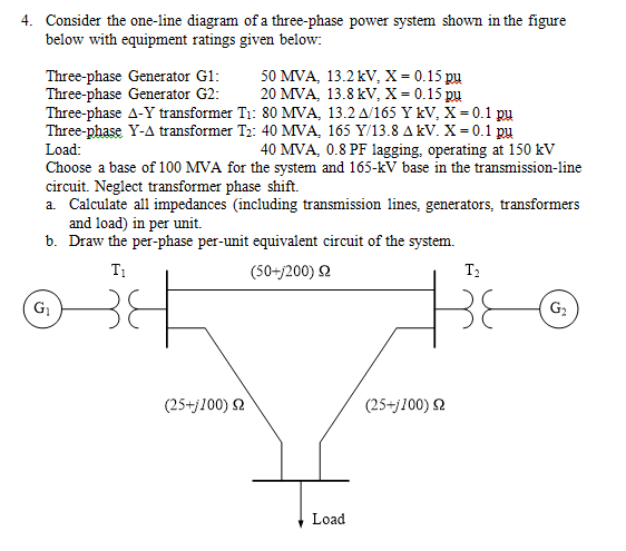 Consider the one-line diagram of a three-phase pow