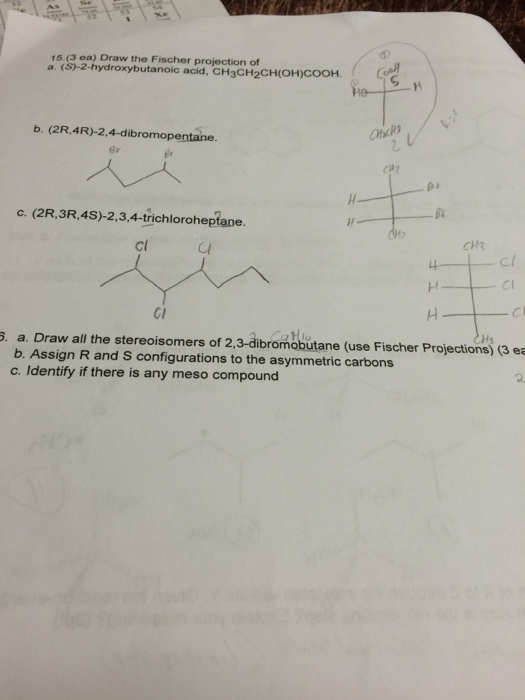 R 2 Chlorobutane Fischer Projection Solved: Draw The Fisch...