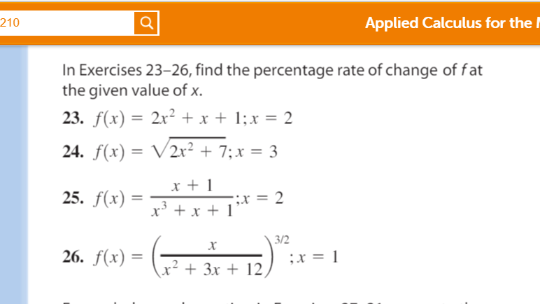 Find the percentage rate of change of f at the giv chegg applied calculus for the 210 in exercises 23 26 find the percentage rate of ccuart Images