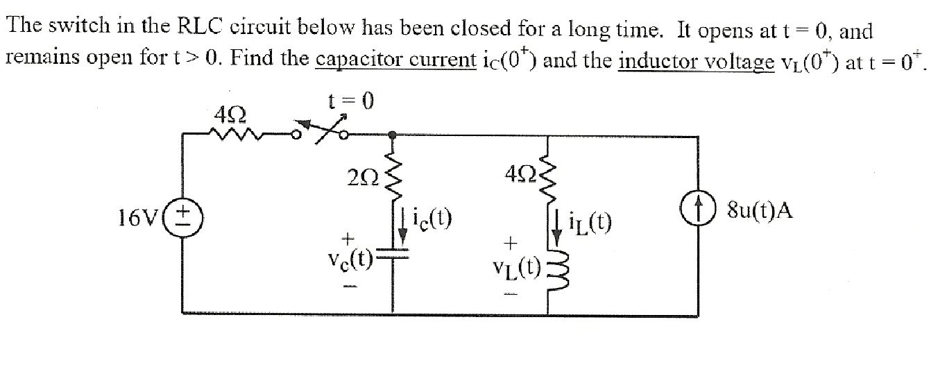 The switch in the RLC circuit below has been close