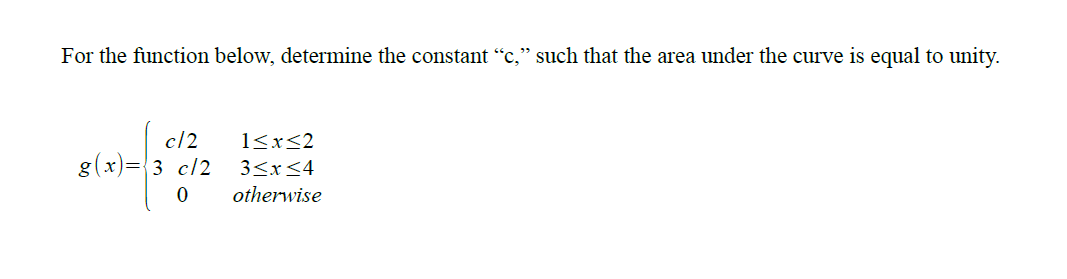 For the function below, determine the constant
