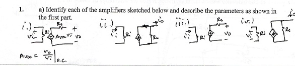 Identify each of the amplifiers sketched below and