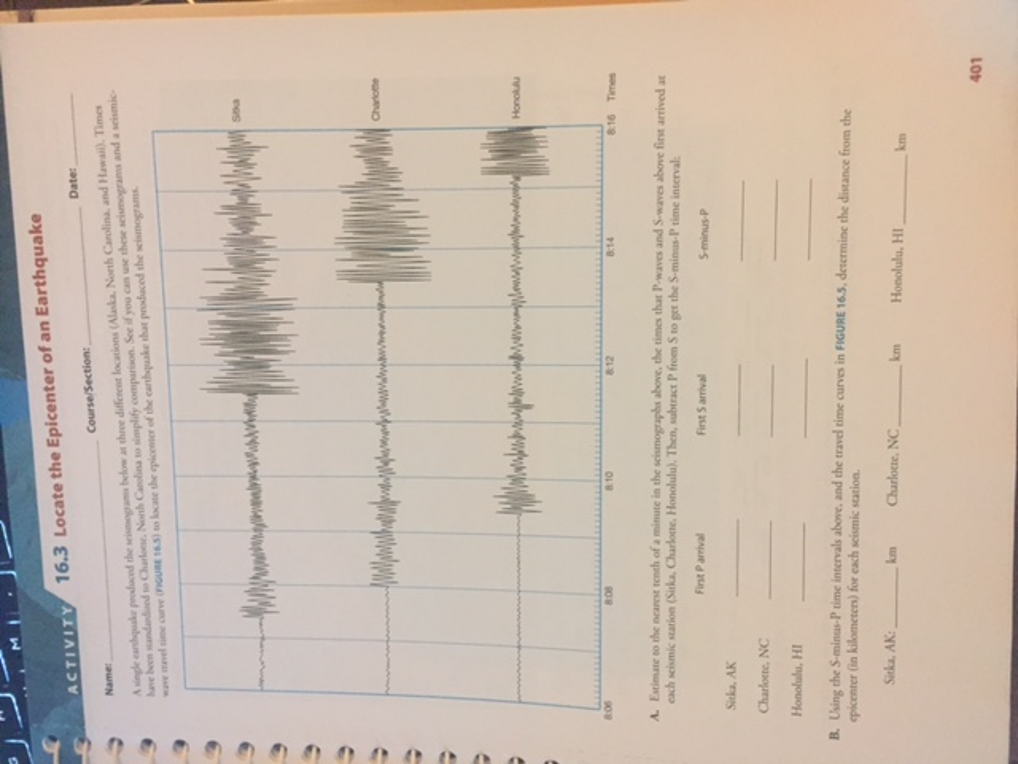 worksheet Find The Epicenter Worksheet solved a single earthquake produced the below at three di locate epicenter of an d