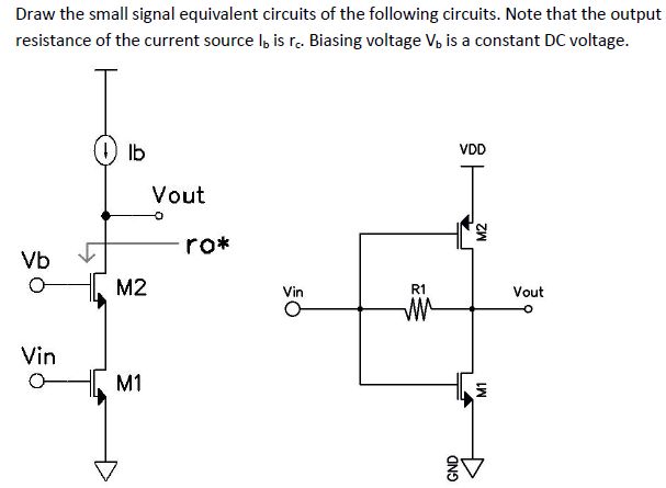 Draw the small signal equivalent circuits of the f