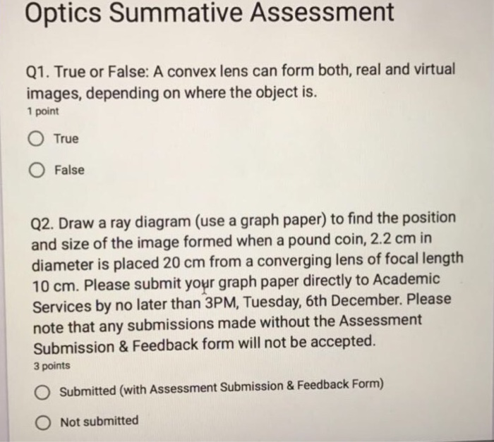 Solved Optics Summative Assessment Q True Or False A C