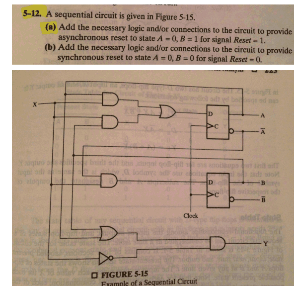 A sequential circuit is given in Figure 5 - 15. A