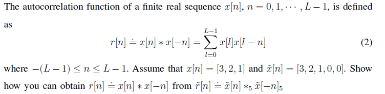 The autocorrelation function of a finite real sequ