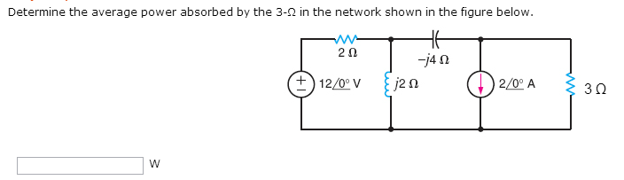 Determine the average power absorbed by the 3-Ohm