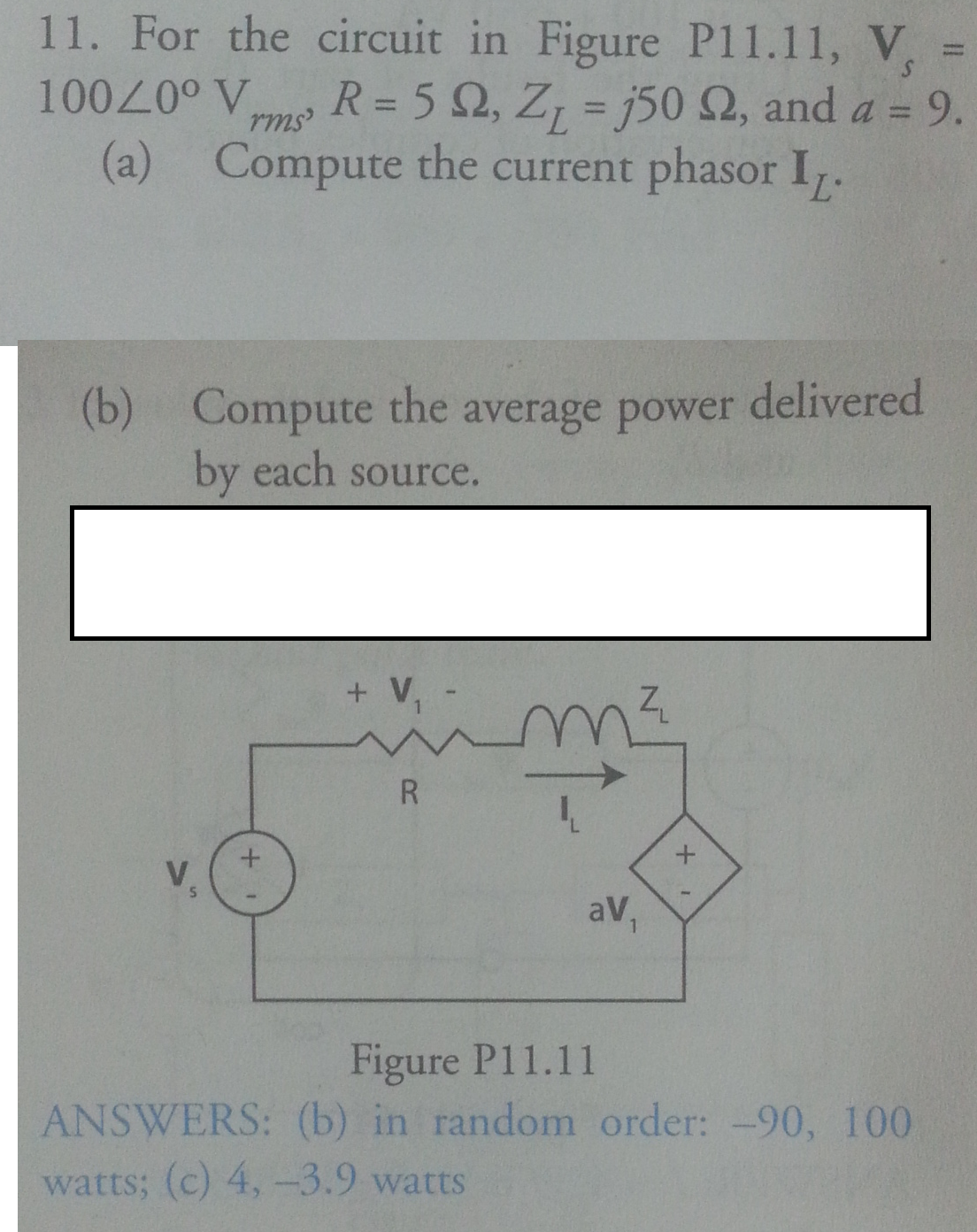 For the circuit in Figure P11.11, Vs = 100 0degre