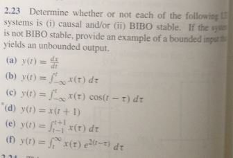 Determine whether or not each of the following sys