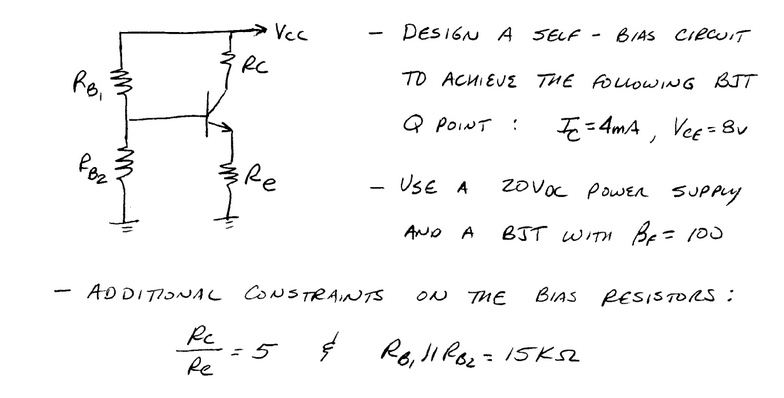 Design a self bias circuit to achieve the followin