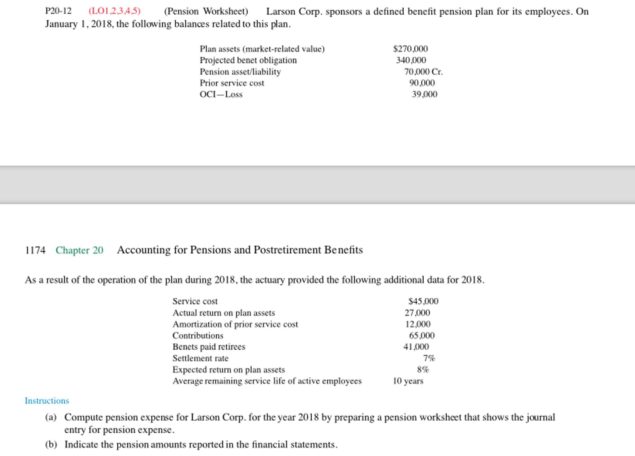 Larson Corp Sponsors A Defined Benefit Pension Pl – Pension Worksheet