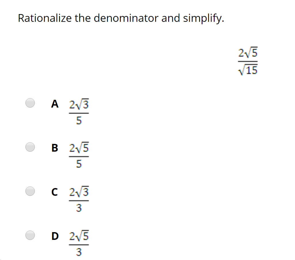 how to get rid of square root in denominator