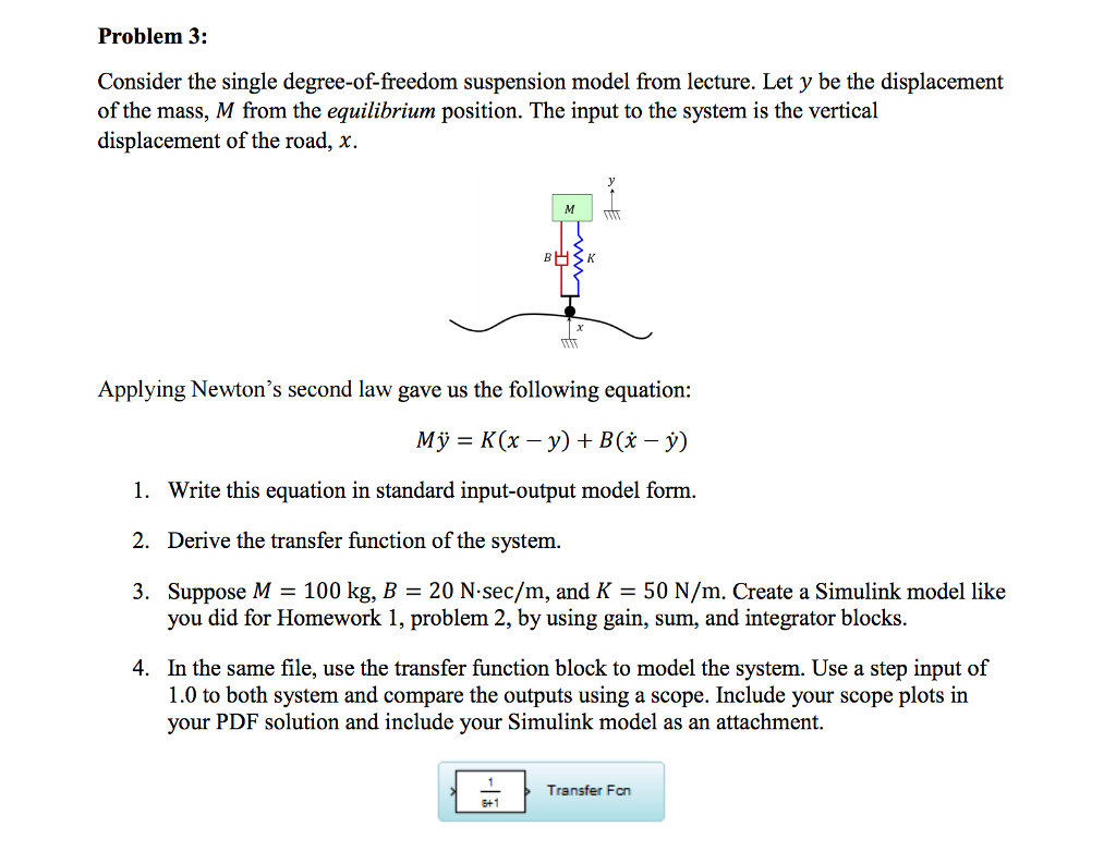 Solved consider the single degree of freedom suspension m problem 3 consider the single degree of freedom suspension model from lecture falaconquin
