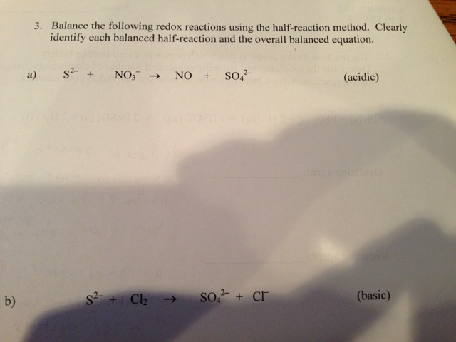 Balance the following redox reactions using the ha