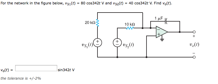 For the network in the figure below, Vs1(t)=80 cos
