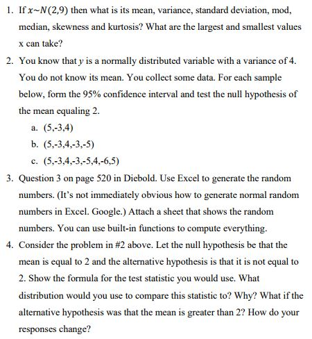 Solved 1 Ifx N 29 Then What Is Its Mean Variance St