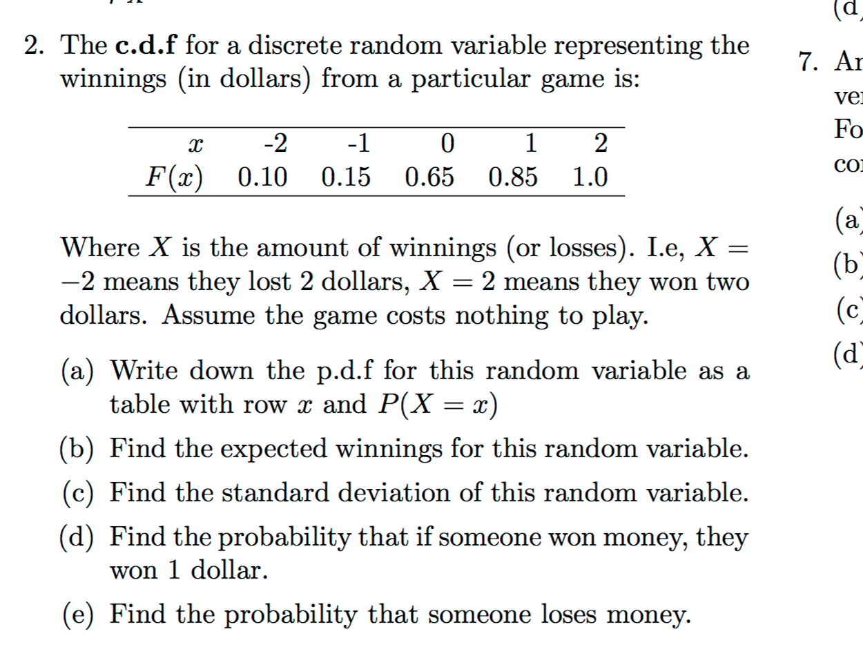 Question: The Cdf For A Discrete Random Variable Represent
