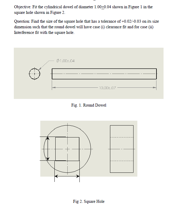 Objective: Fit the cylindrical dowel of diameter 1