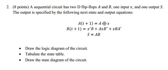 A sequential circuit has two D flip-flops A and B,