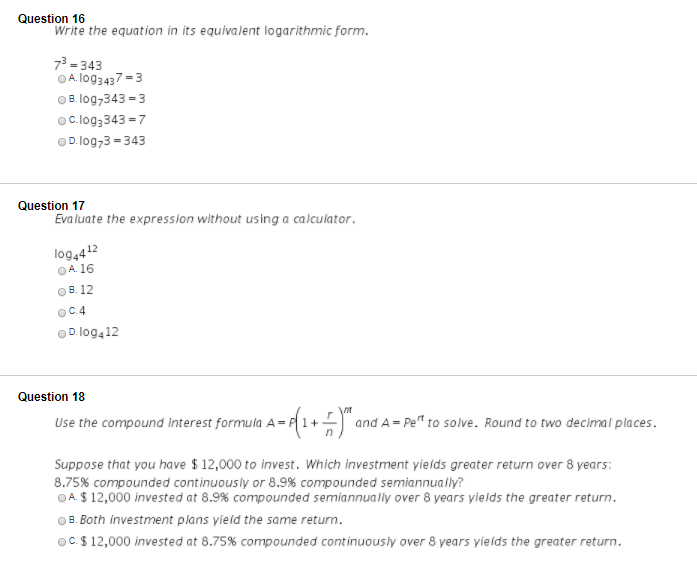 Question 16 Write The Equation In Its Equivalent L... | Chegg.com