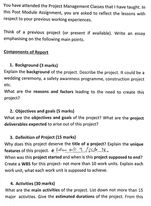 you have attended the project management classes t com question you have attended the project management classes that i have taught in this post module assignme