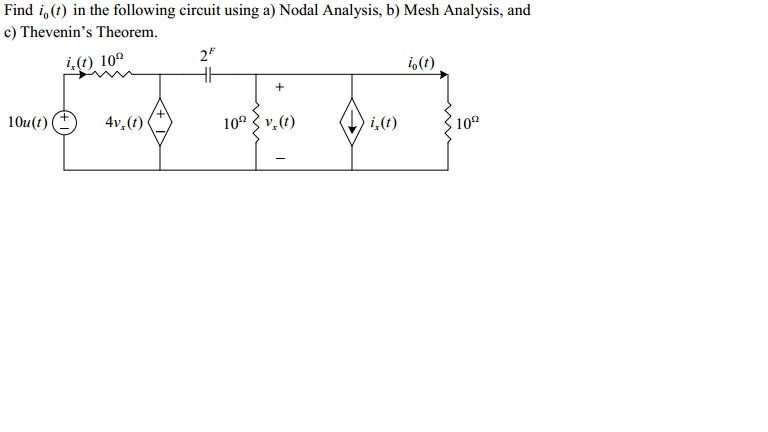 Find io(t) in the following circuit using a) Nodal