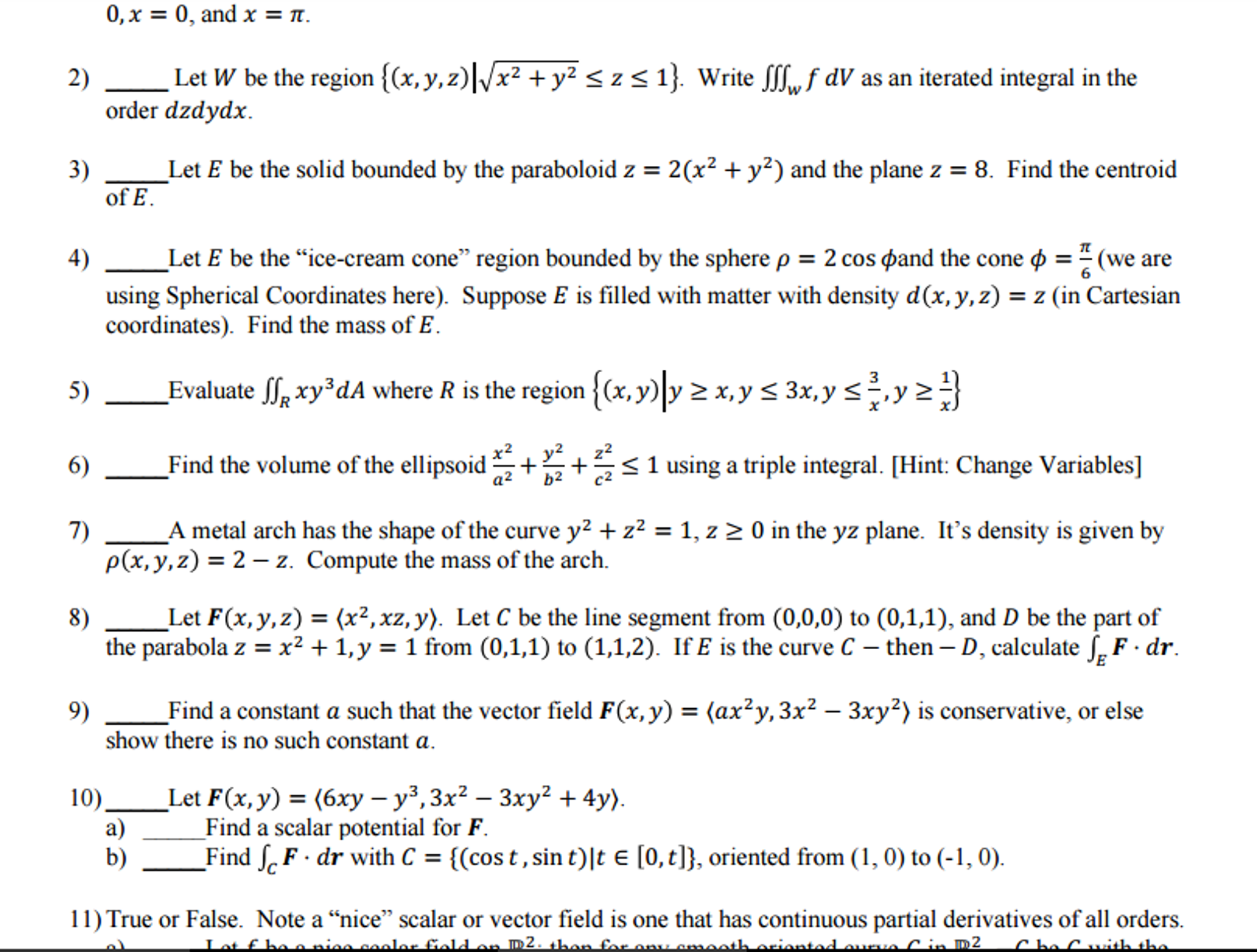 Lt 22 Volume Of Cone Question: Let W Be The Region {(x,