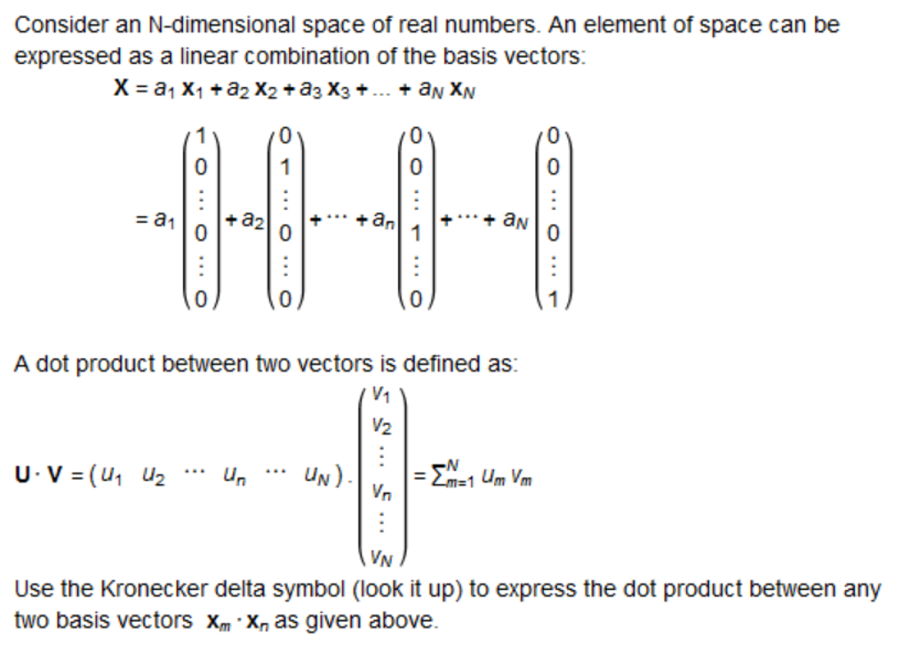 Consider An N Dimensional Space Of Real Numbers An Chegg