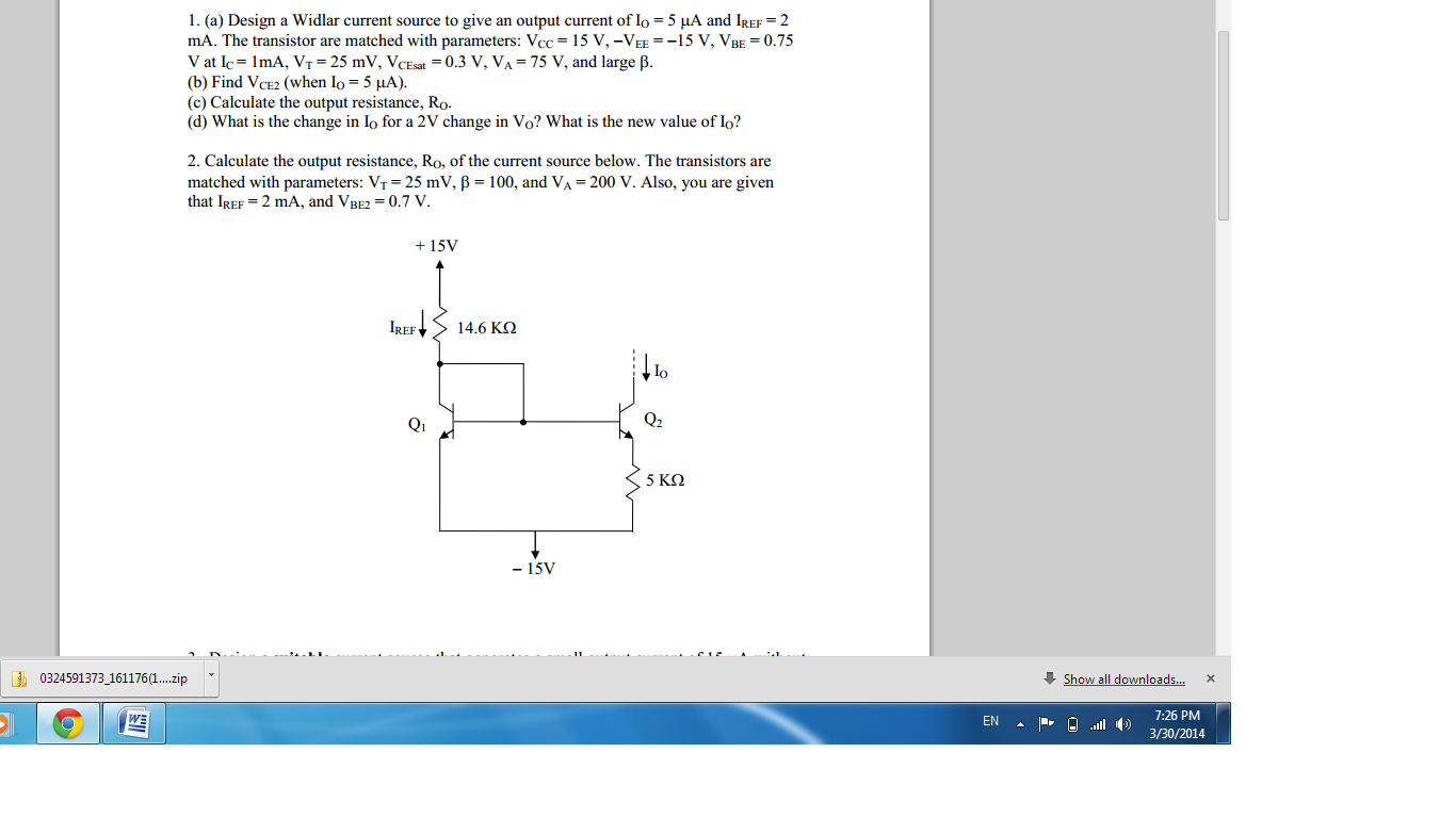 Design a Widlar current source to give an output c