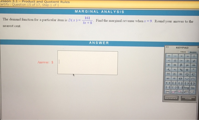 The demand function for a particular item is D( x