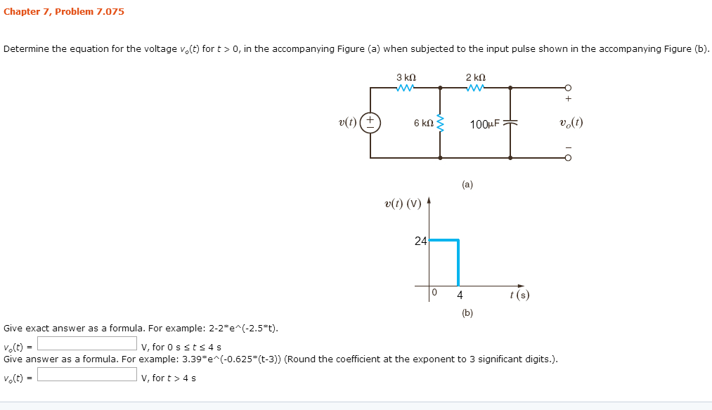 Determine the equation for the voltage vo(t)