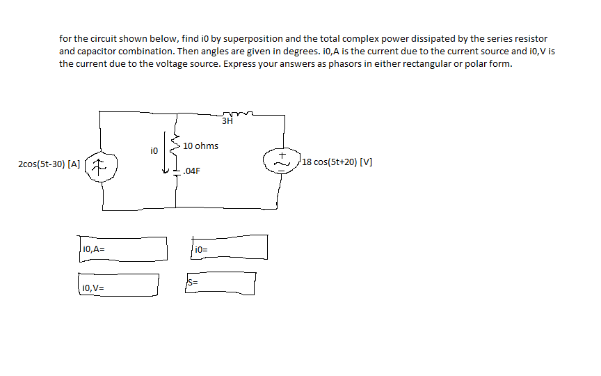 for the circuit shown below, find i0 by superposit