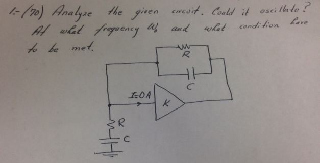 Analyze the given circuit. could it oscillate? At