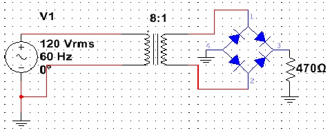 What is the peak output voltage in this figure if