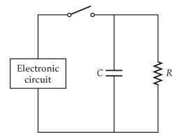 The figure below shows how a bleeder resistor (R
